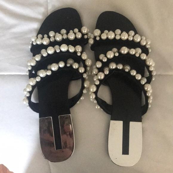 Zara Shoes - Zara pearl flat sandals